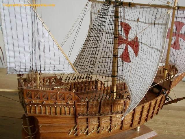 航海模型-供应实木帆船拼装套材--桑塔玛利亚号-航海