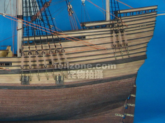 航海模型-供应实木帆船拼装套材--五月花号2型-航海尽
